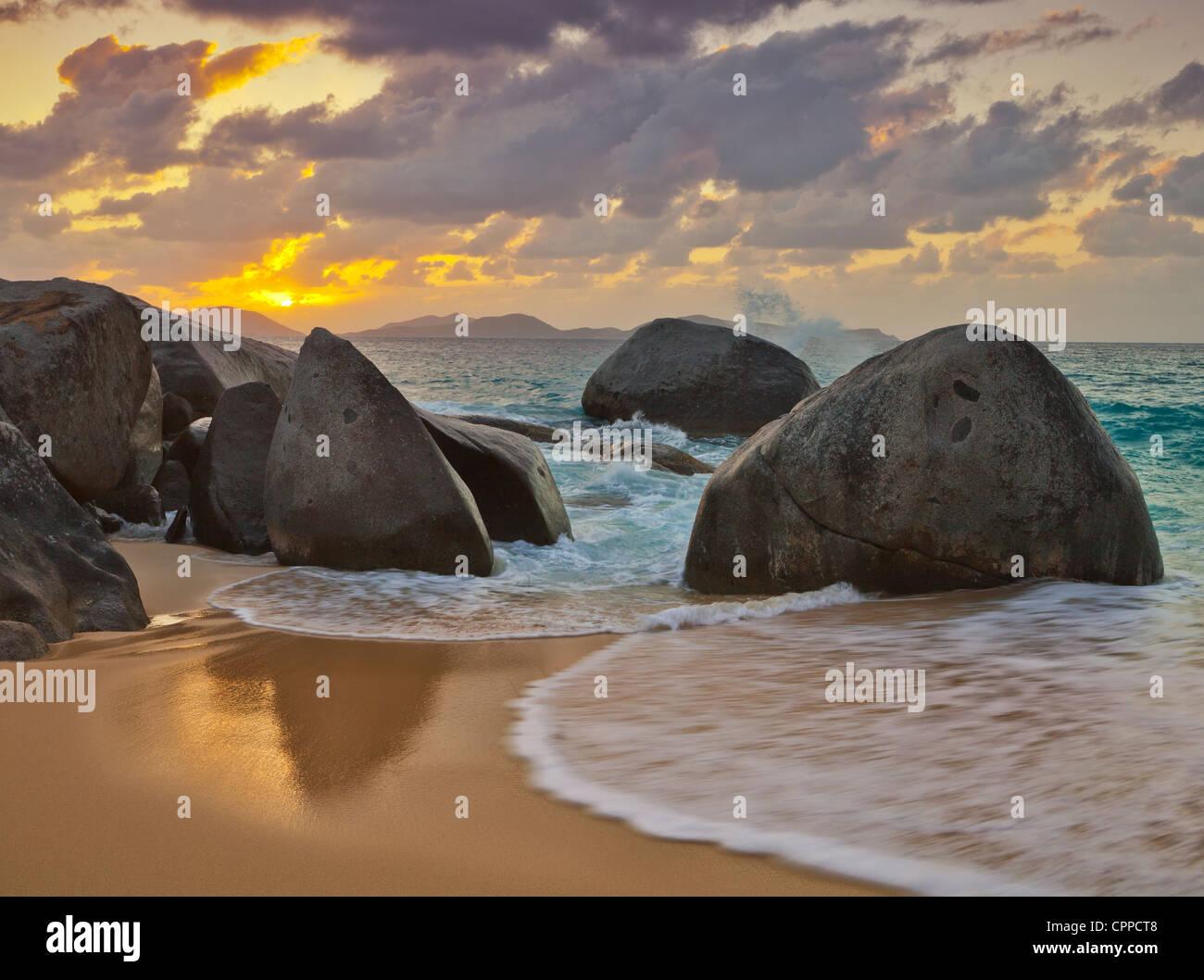 Virgin Gorda, British Virgin Islands, Caribbean Boulders awash in the surf  of Little Trunk