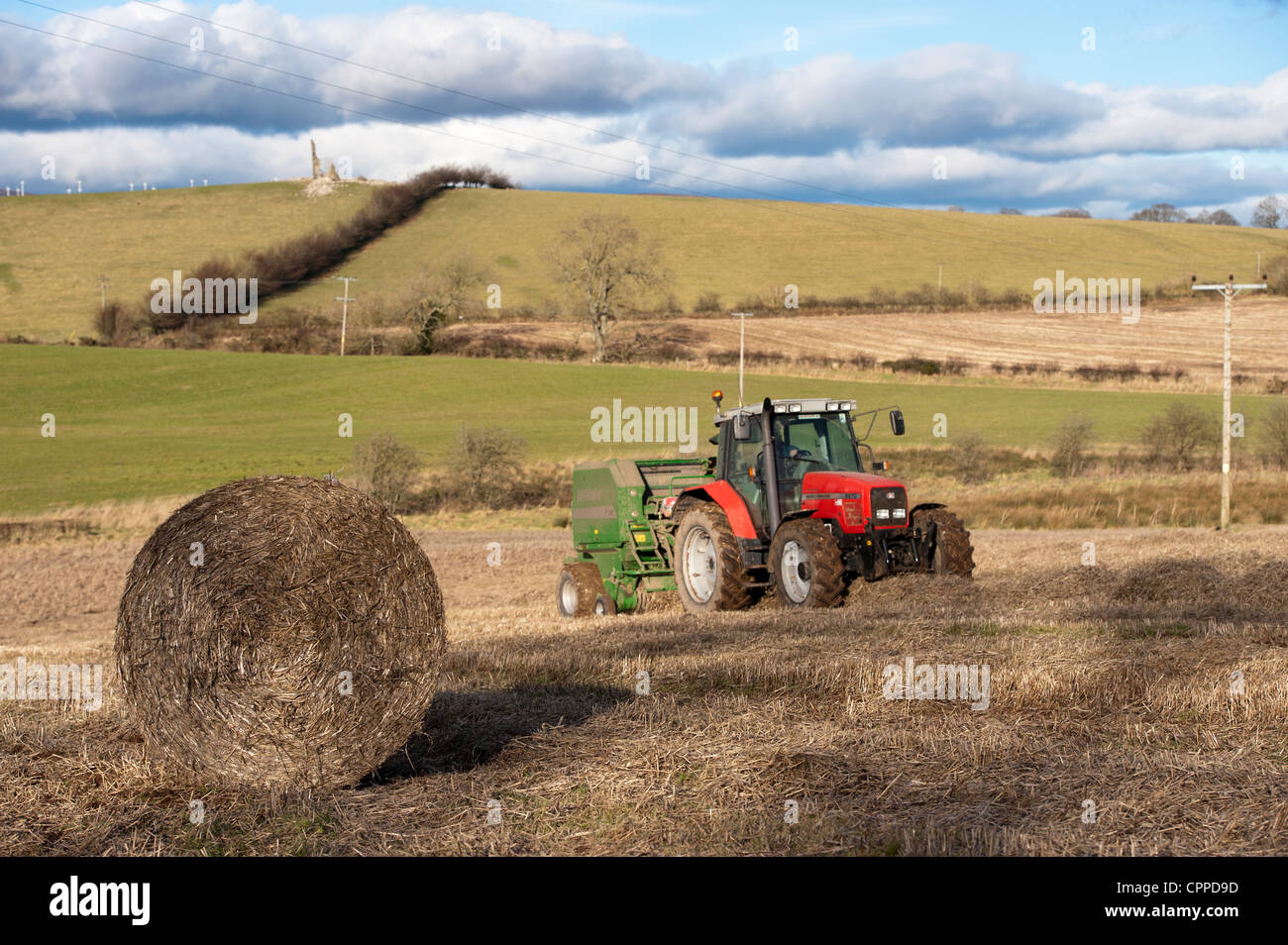 Baling straw with McHale round baler and Massey Ferguson tractor. - Stock  Image