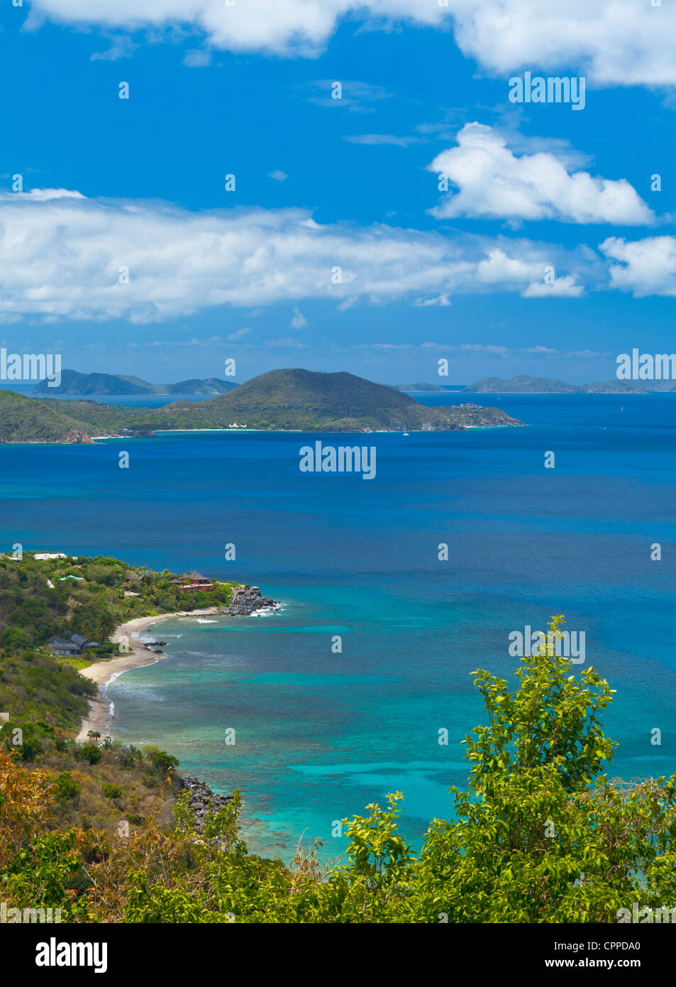 Virgin Gorda, British Virgin Islands, Caribbean View of Tortola across the Sir Francis Drake Channel - Stock Image