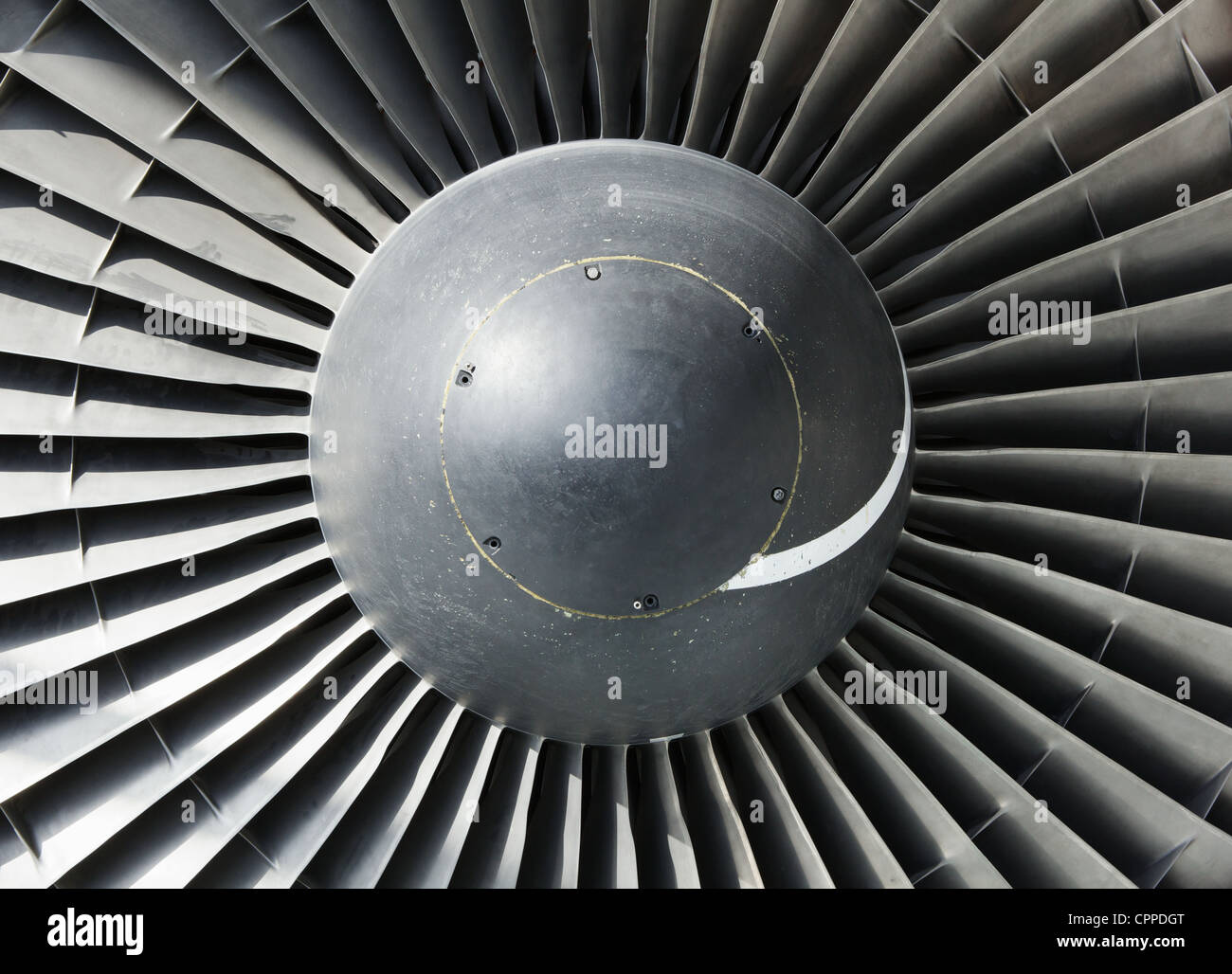 Single spiral on a large jet engine nose cone inlet - Stock Image
