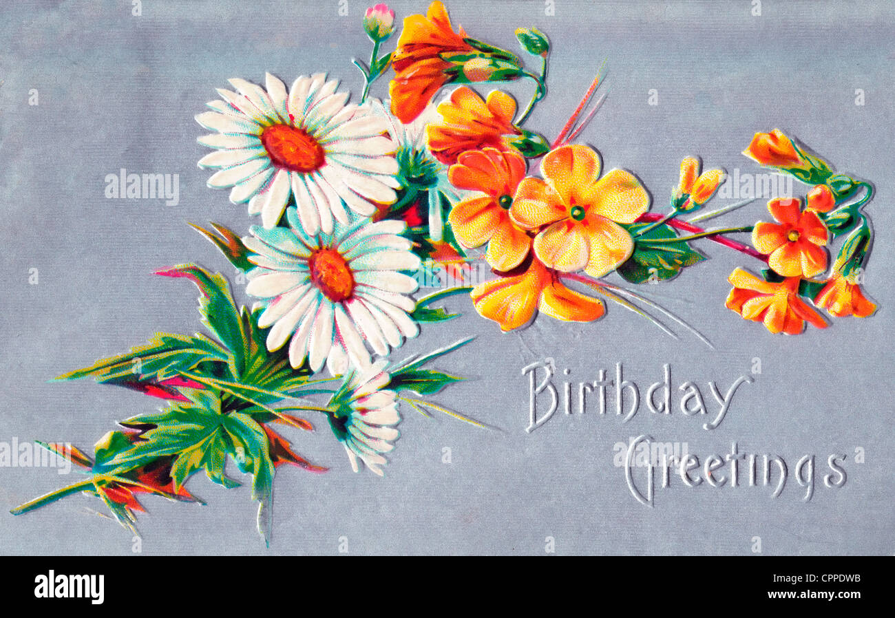 Birthday Greetings Vintage Card With Flowers Stock Photo 48437015