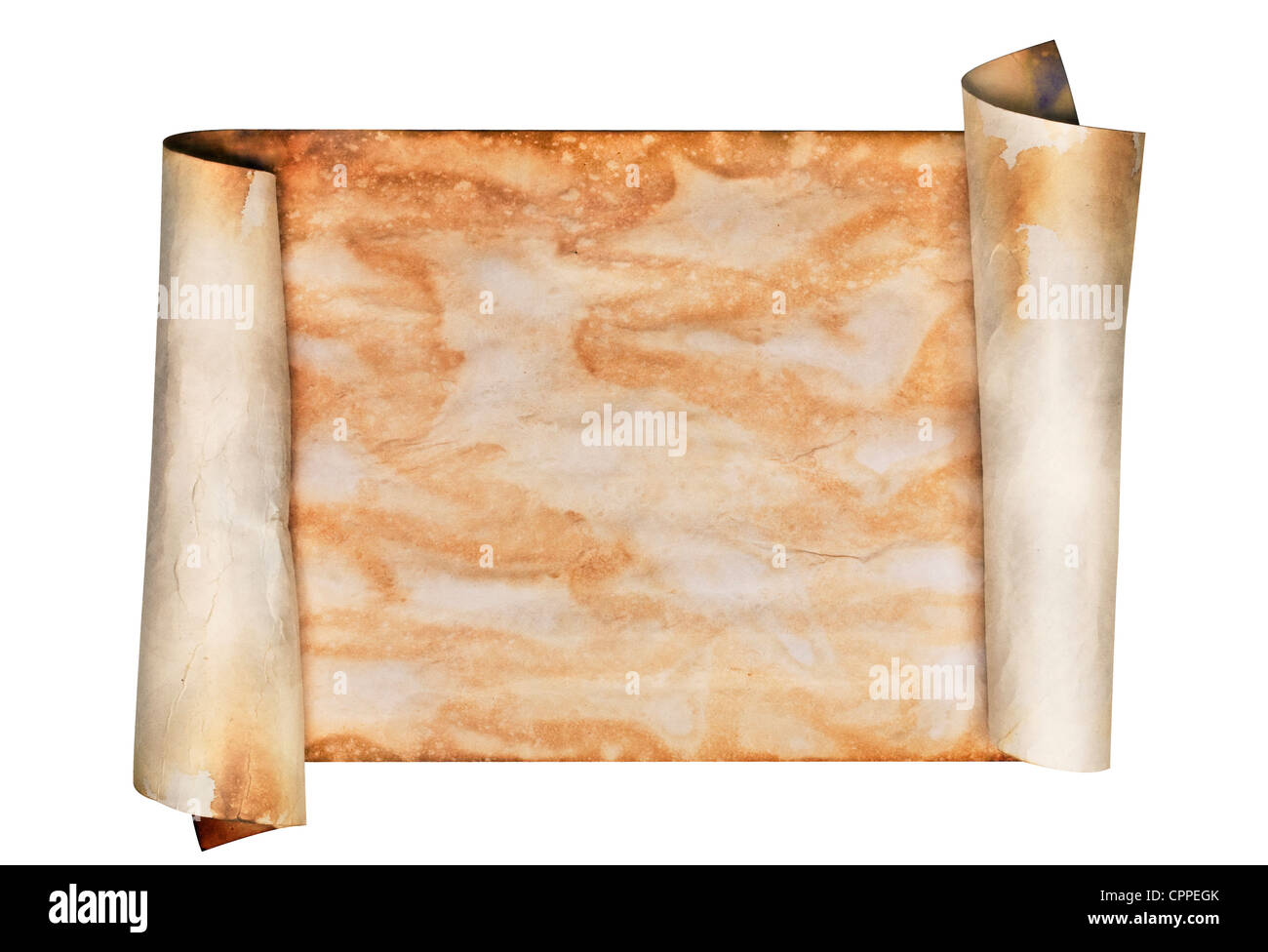 Ancient looking parchment made to look like an old scroll. Isolated on white with a clipping path. - Stock Image