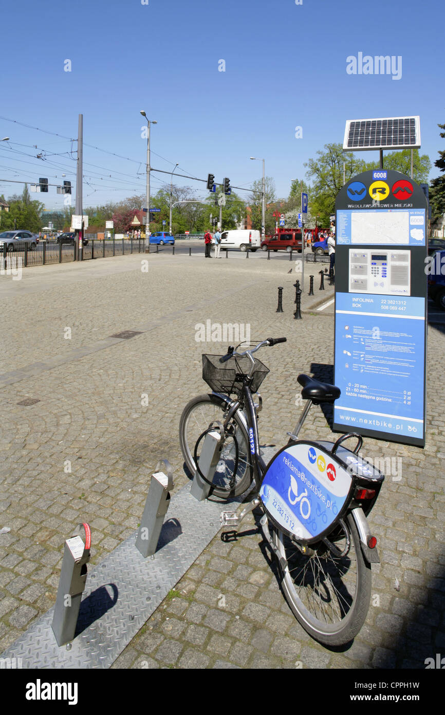Bicycle for hire, Wroclaw (Breslau), Poland. - Stock Image