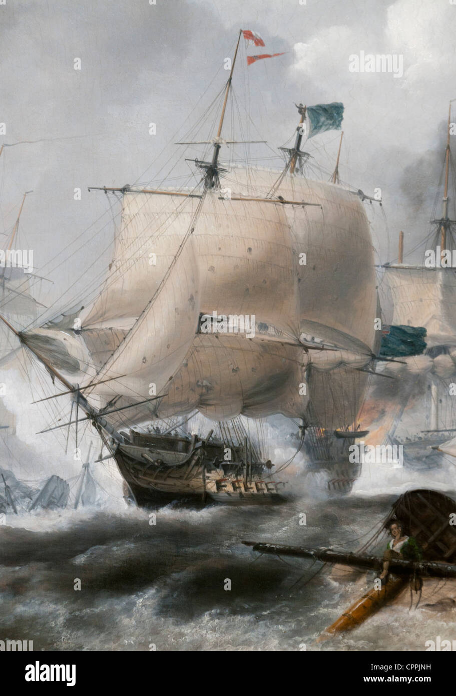 Battle of Camperdown, HMS Venerable, Third rate (74 guns), The Flagship of Admiral Adam Duncan - Stock Image