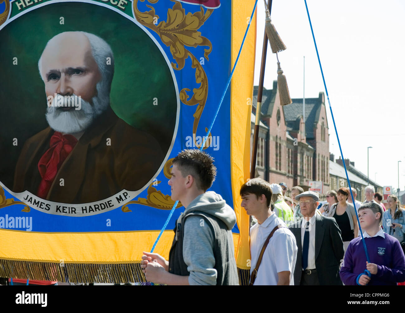 National Union of Mineworkers banner of Keir Hardie at commemoration of Felling mine disaster, Felling, Gateshead. - Stock Image