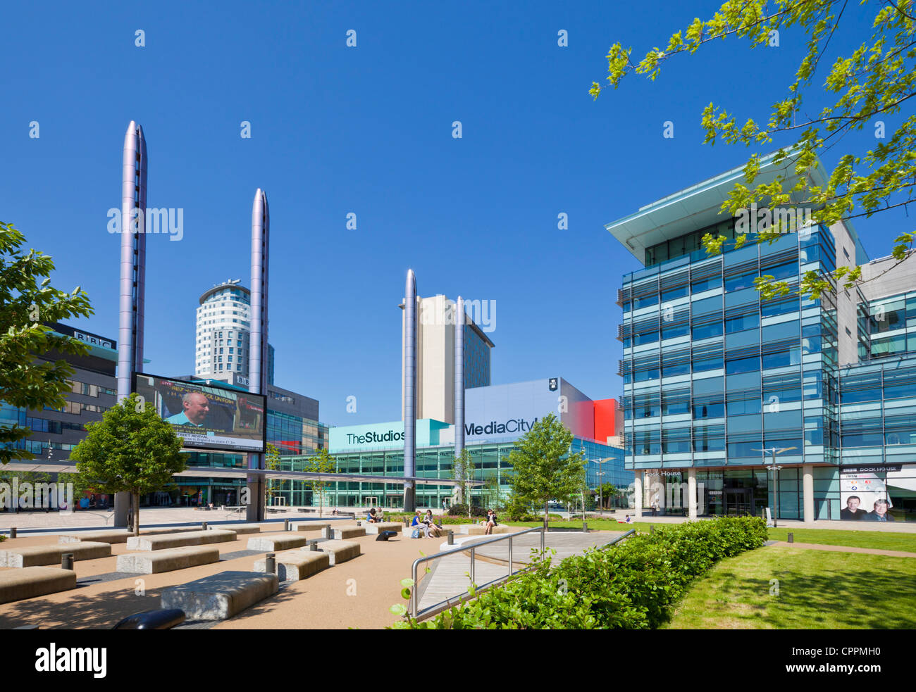 MediaCity UK BBC Television centre North salford quays manchester Greater Manchester England UK GB EU Europe - Stock Image