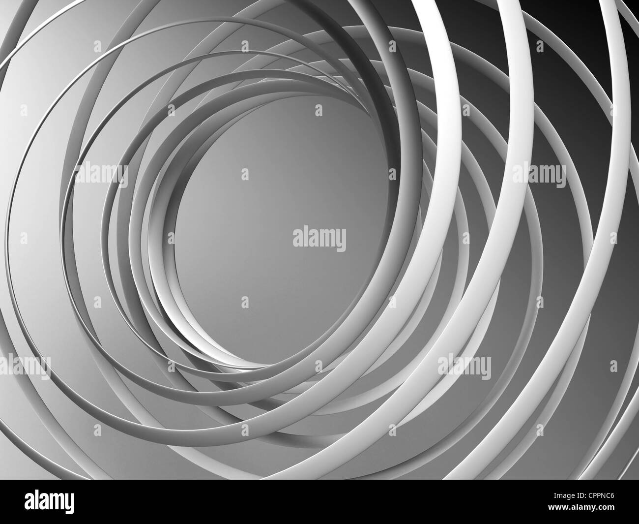 Monochrome abstract 3d spiral background - Stock Image