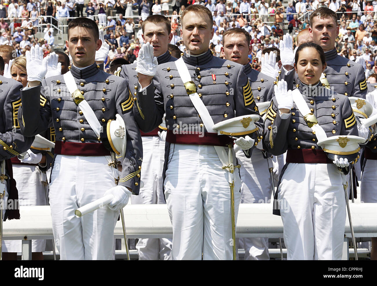 Graduating cadets from the US Military Academy class of 2012 take the oath during ceremonies May 26, 2012 in West - Stock Image