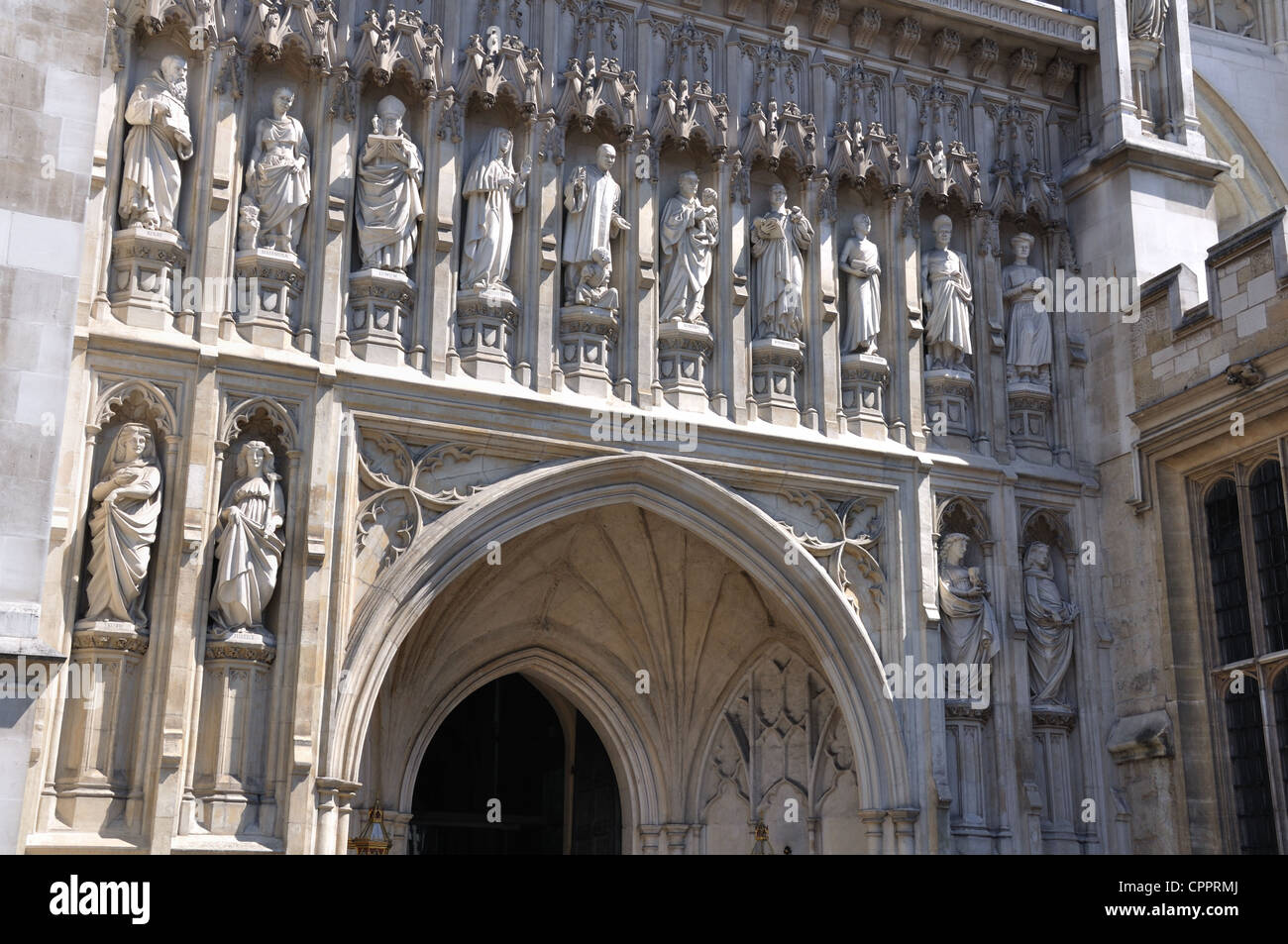 West entrance of Westminster Abbey, showing the Ten Martyrs - Stock Image
