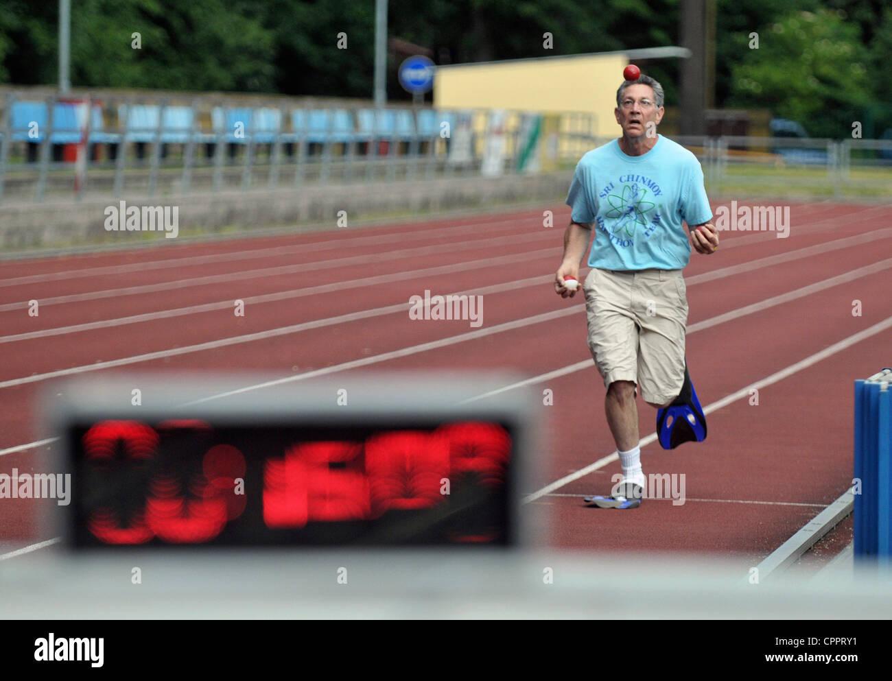 Stara Boleslav, Czech Republic. Wednesday May 30th 2012. American Guinness records holder Ashrita Furman has created - Stock Image
