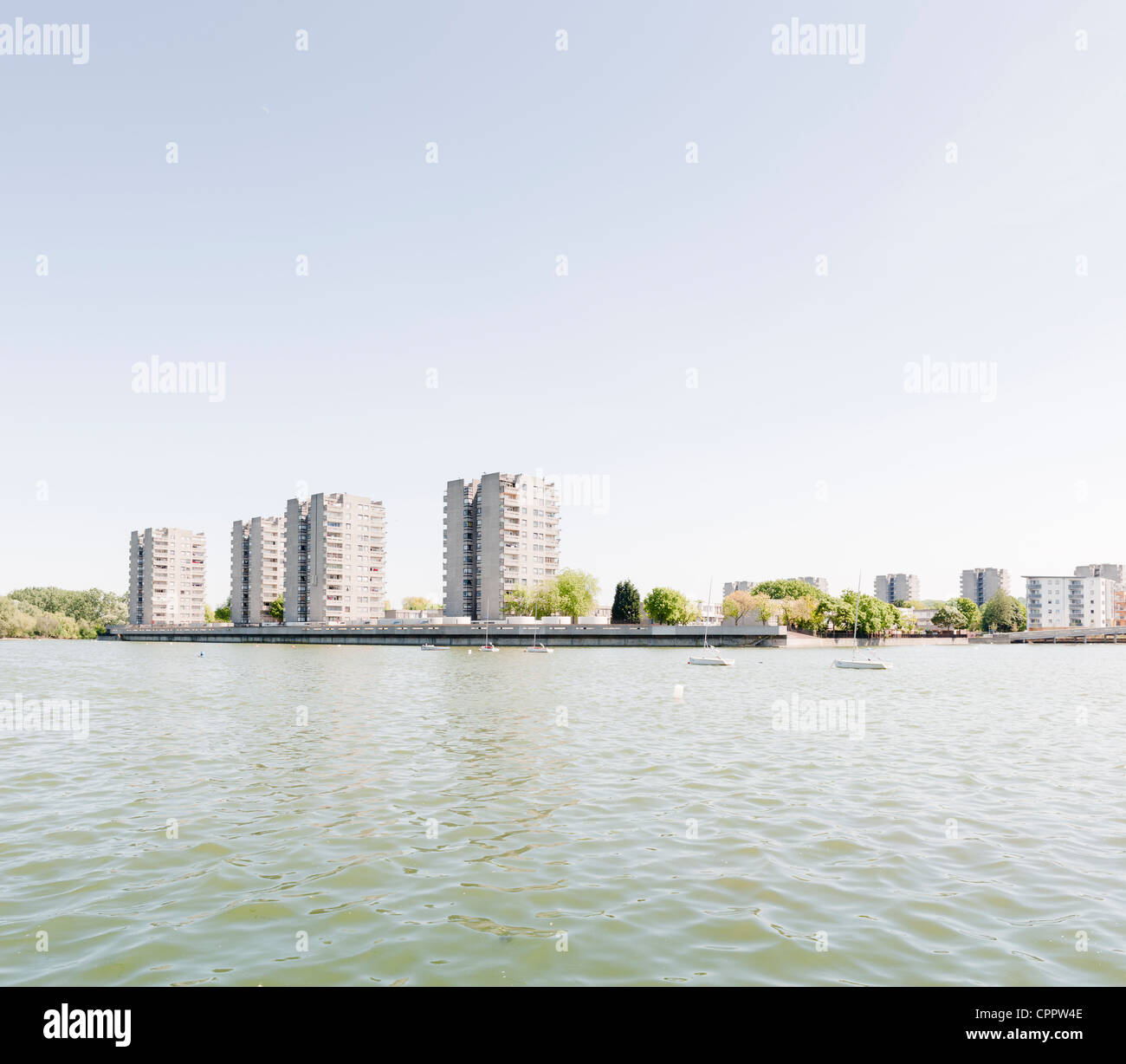 Utopian council housing in Thamesmead, London, UK. - Stock Image