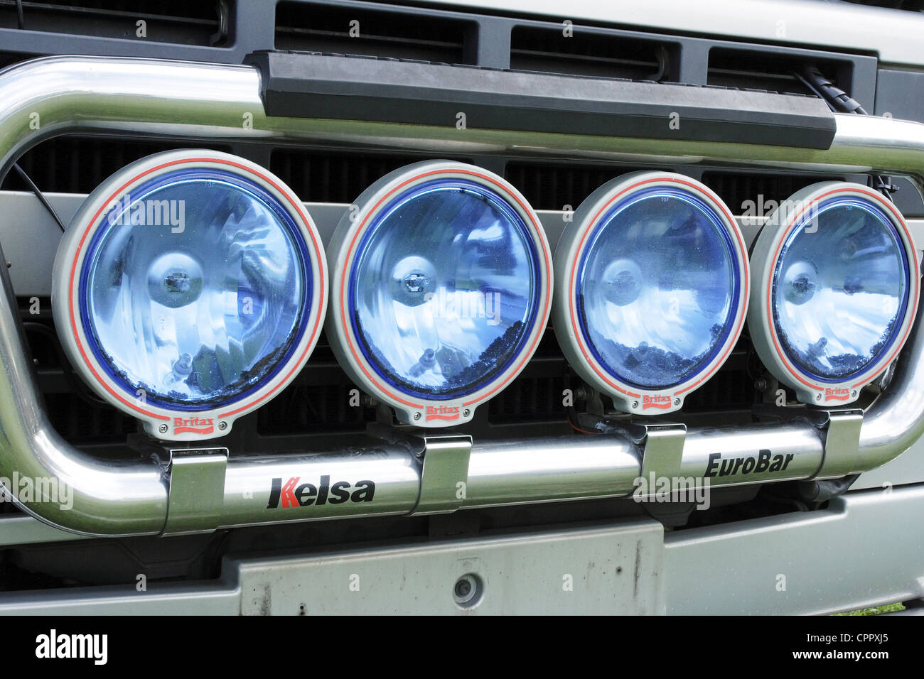 4 Spotlights mounted on the front of a commercial vehicle. - Stock Image