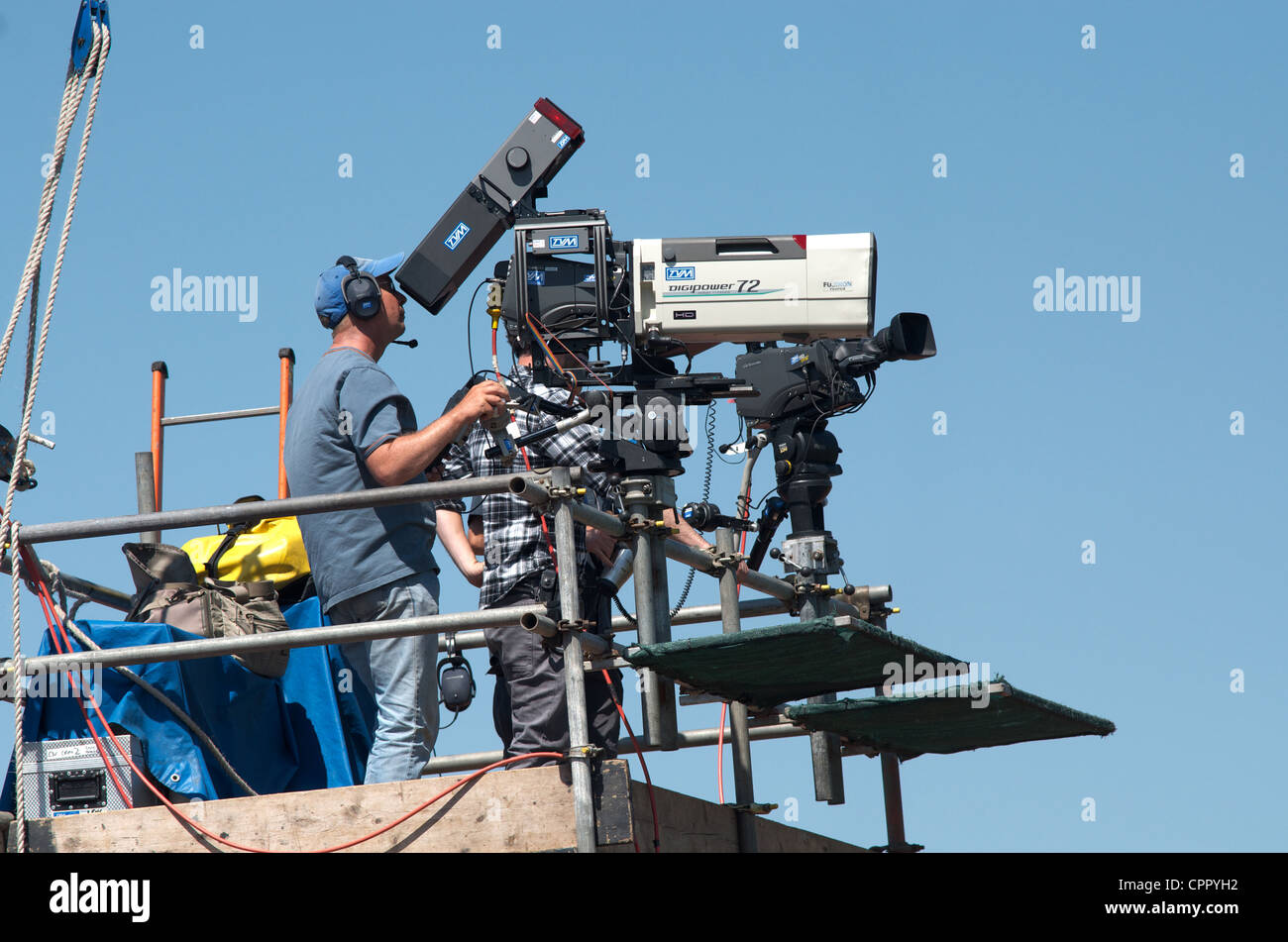 television cameramen at the paralympic world cup  at sportcity, manchester, uk may 2012 - Stock Image