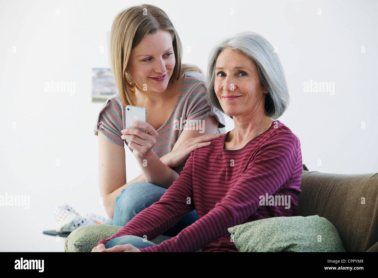 ELDERLY PERSON & ADOLESCENT - Stock Image