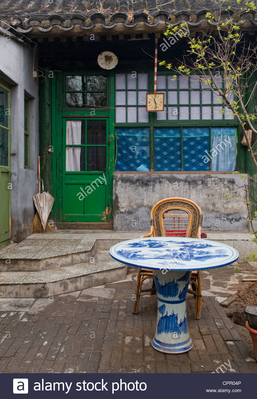Interior courtyard of a typical Beijing Hutong China. - Stock Image