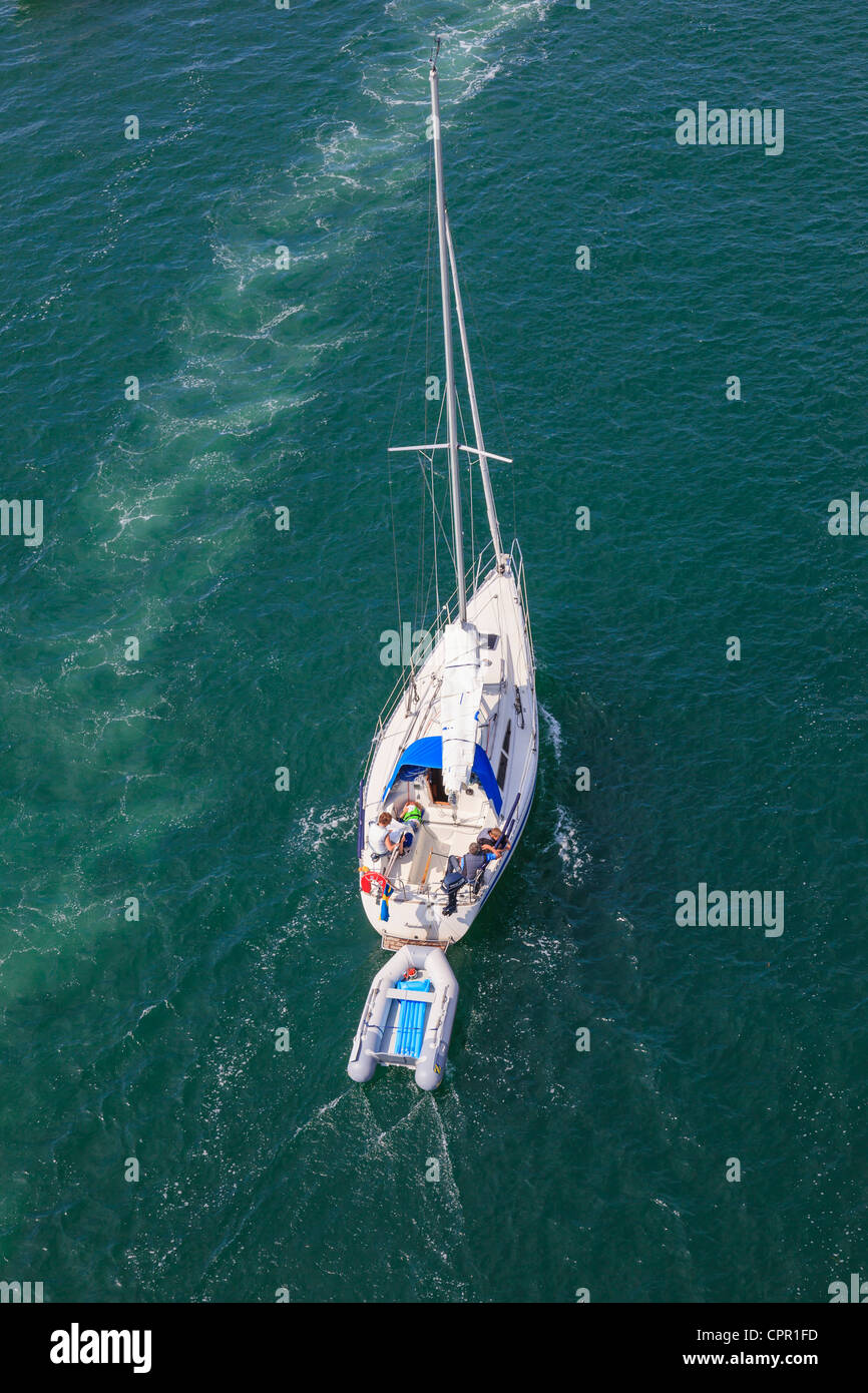 Sailing boat at sea from above - Stock Image