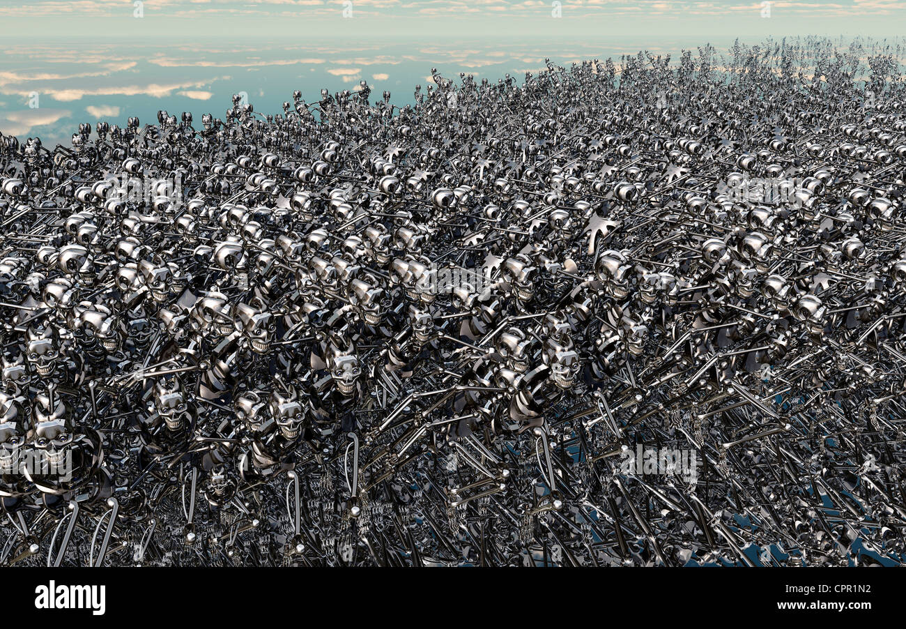 The Swarm, Depicts The Mass Production Of Robots. - Stock Image