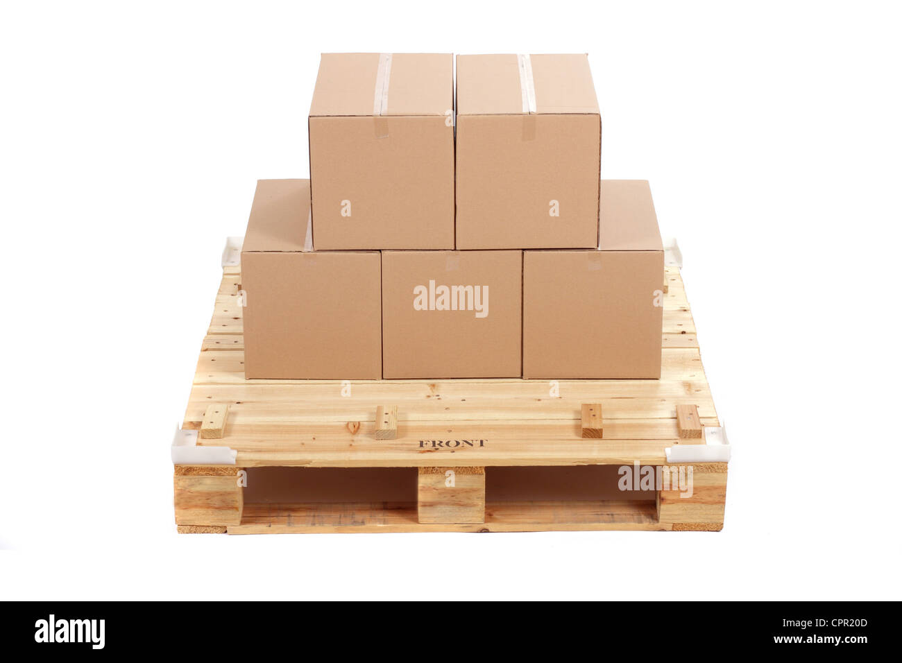 cardboard boxes on wooden palette, isolated on white - Stock Image