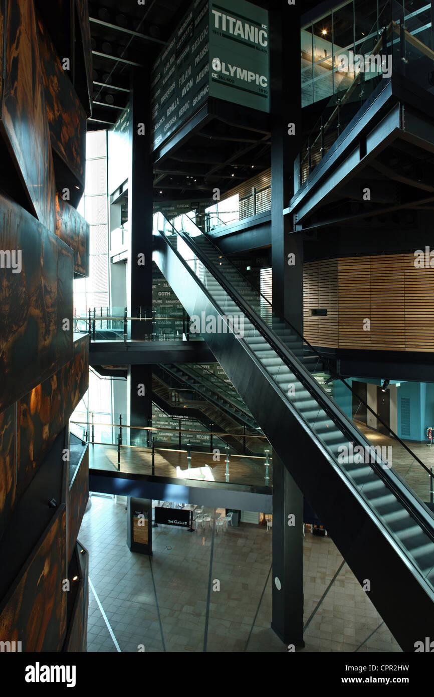 Main entrance hall of Titanic Belfast Signature Project - Stock Image