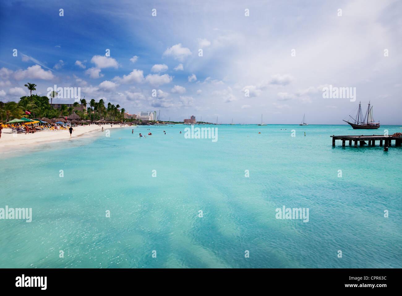 Palm Beach, Aruba, looking south toward Oranjestad - Stock Image