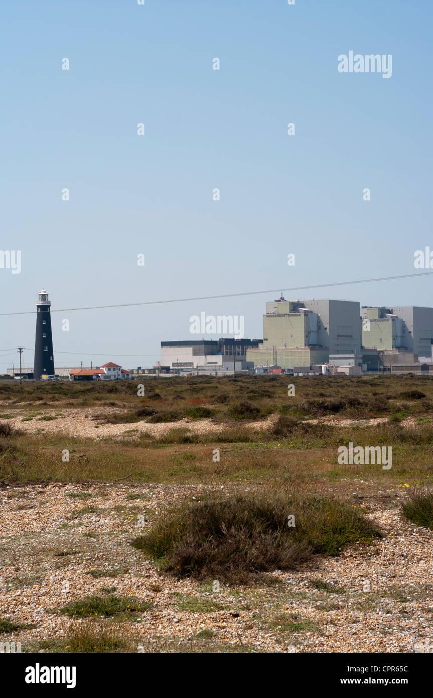 Dungeness Nuclear Power Station Kent Uk Seen Through Summer Heat Haze - Stock Image