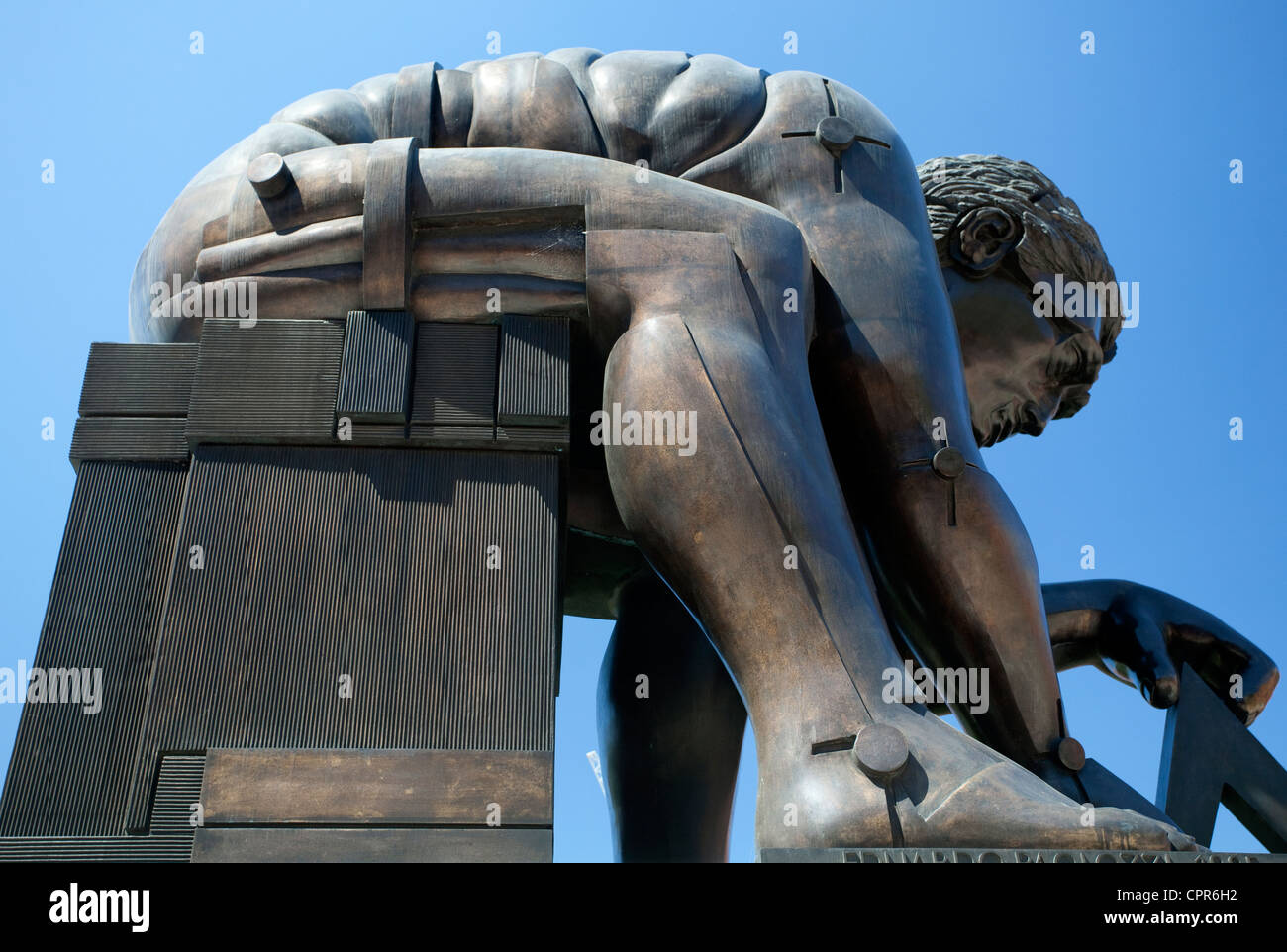 Sculpture of Isaac Newton by Eduardo Paolozzi at British Museum, London - Stock Image