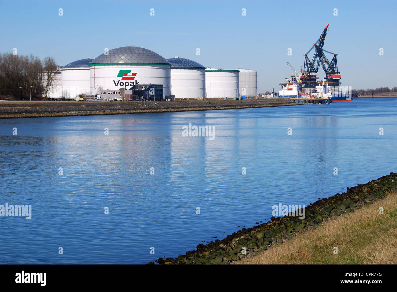 Vopak tank terminals for storage of petrochemicals and fuels, Europoort, Rotterdam, Netherlands - Stock Image