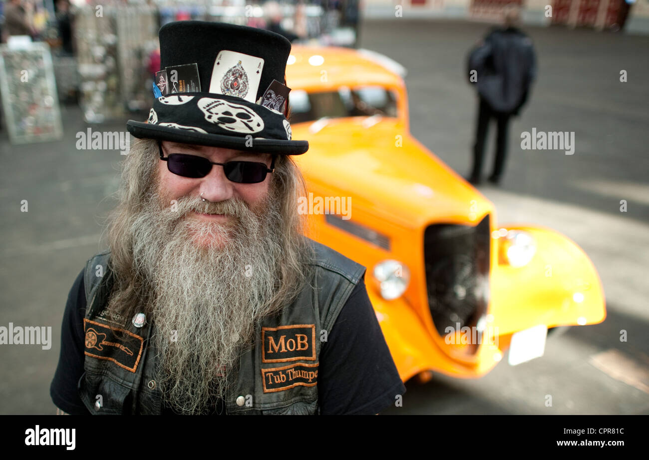 Classic bike and car show with enthusiast in London - Stock Image