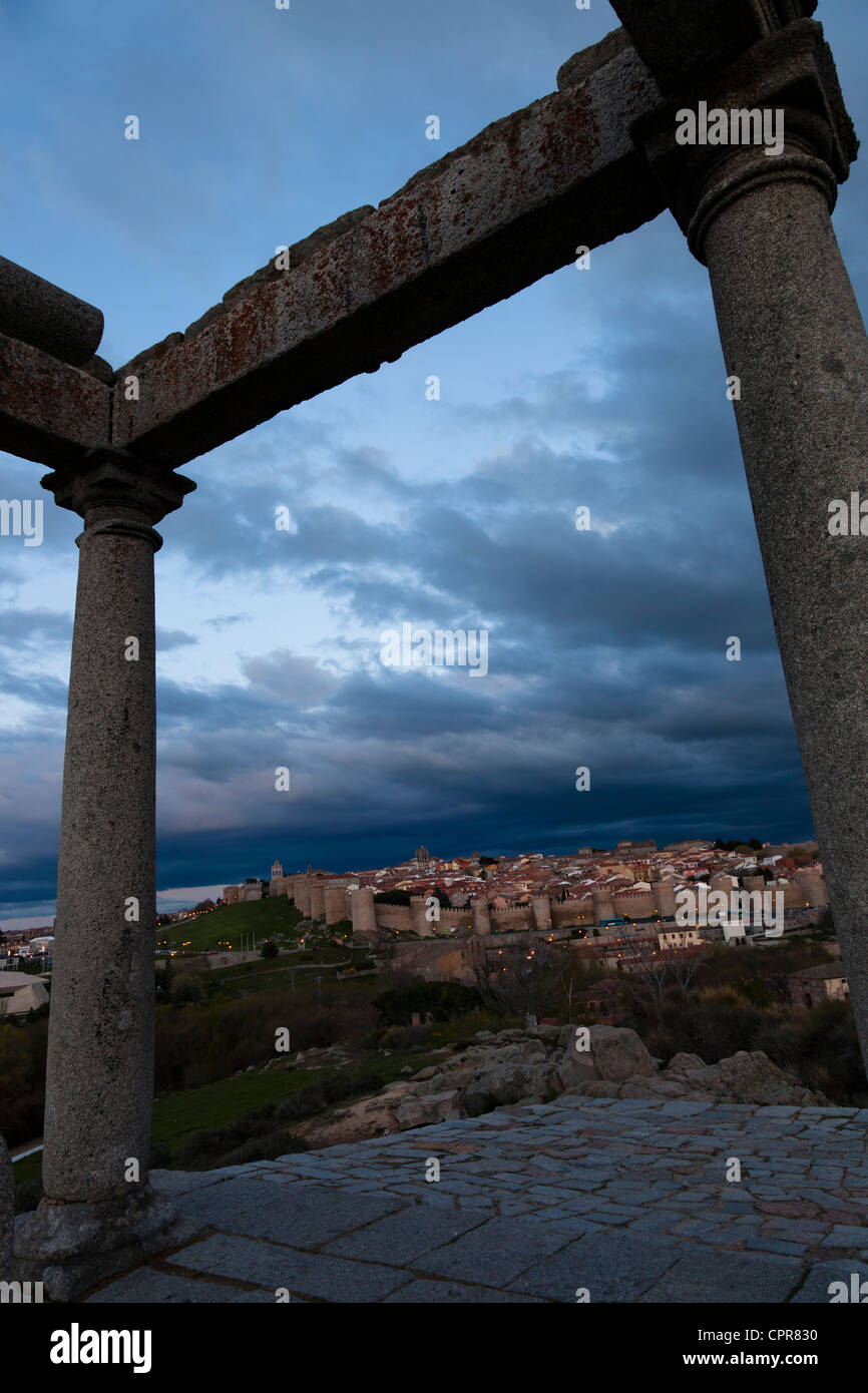 Dynamic view of the city, wall fortress and towers rooks of Avila,Castilla-Leon, Spain - Stock Image
