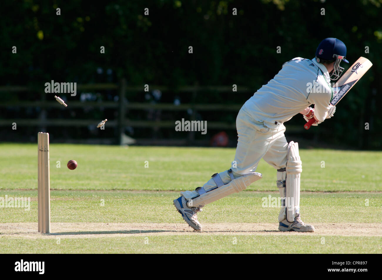 Batsman bowled out with bails flying - Stock Image