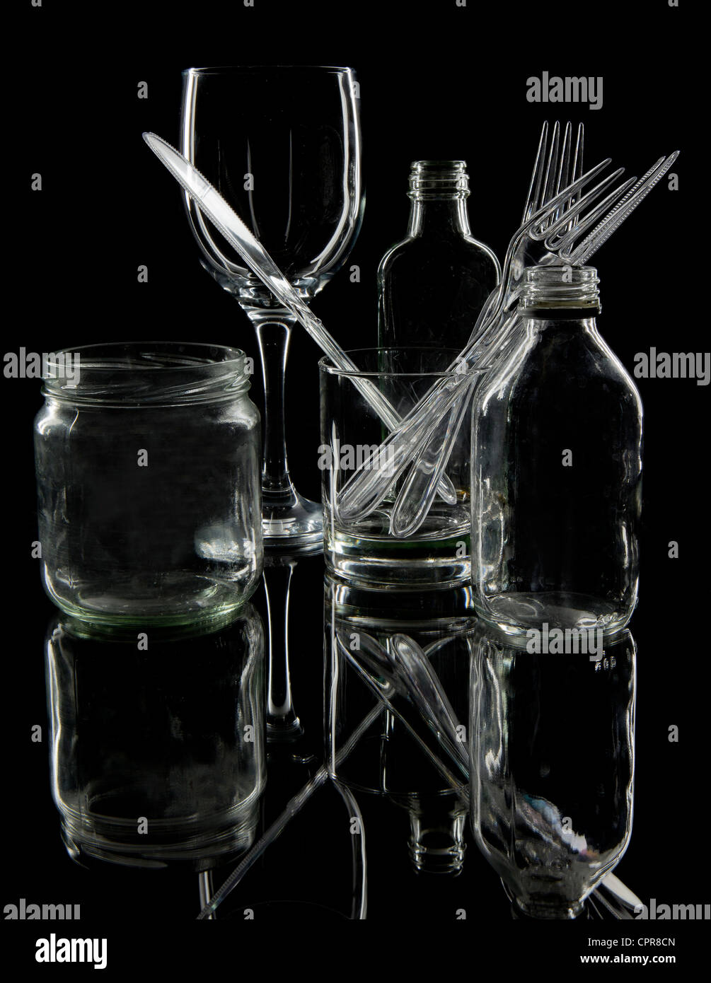 selection of glass items used in the kitchen - Stock Image