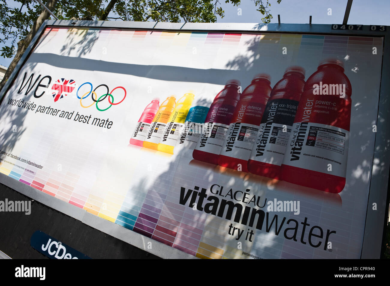 JCDecaux advertising billboard for GLACEAU VITAMIN WATER Olympic partner in Newport South Wales UK - Stock Image