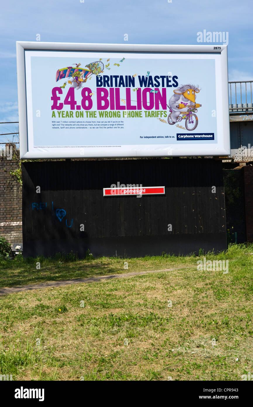 PRIMESIGHT advertising billboard for CARPHONE WAREHOUSE dealing with phone tariffs in Newport South Wales UK - Stock Image