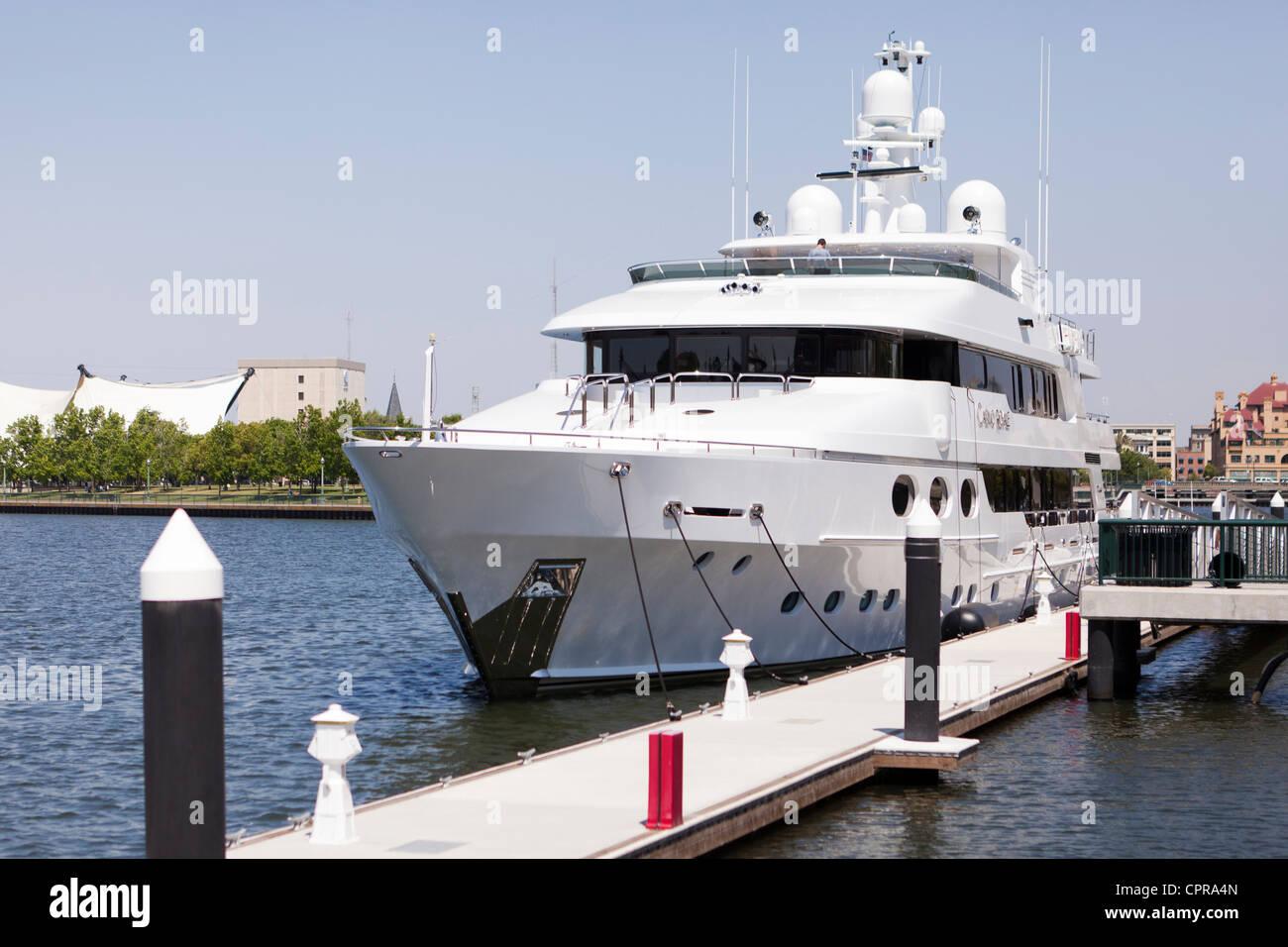 Docked luxury yacht - Stock Image