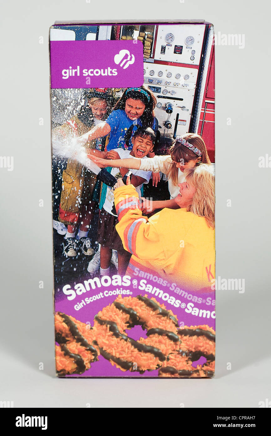 A box of Samoas Girl Scout cookies.  - Stock Image