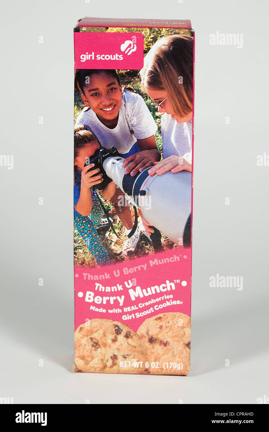 A box of Berry Munch Girl Scout cookies. - Stock Image