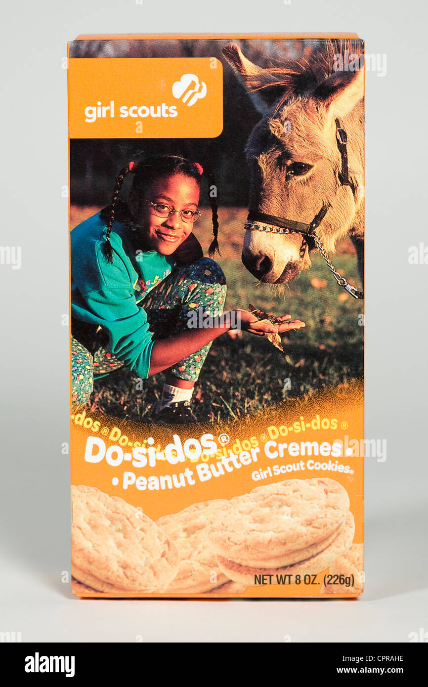 A box of Do-si-dos Girl Scout cookies.  - Stock Image