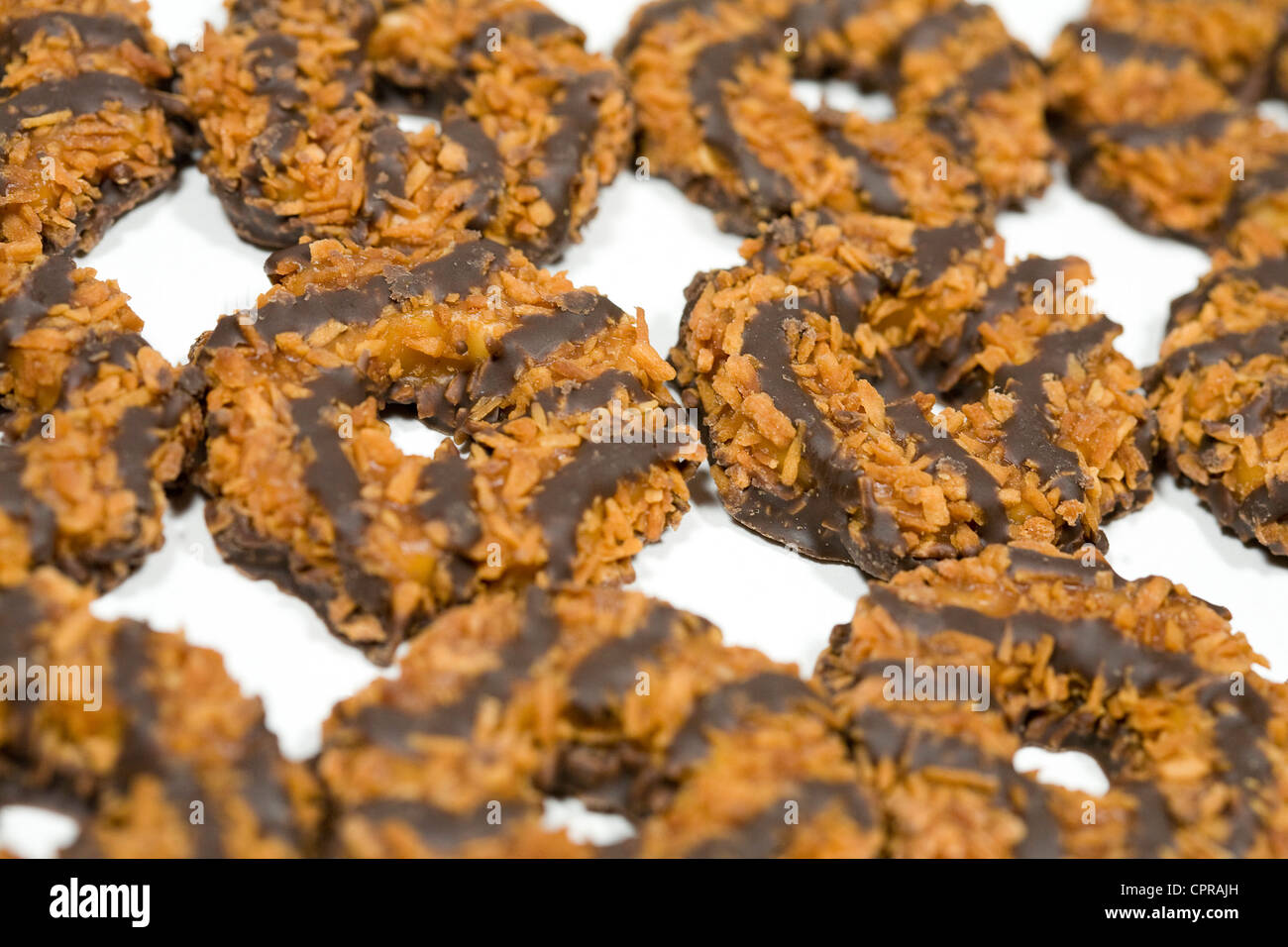 Samoas Girl Scout cookies.  - Stock Image