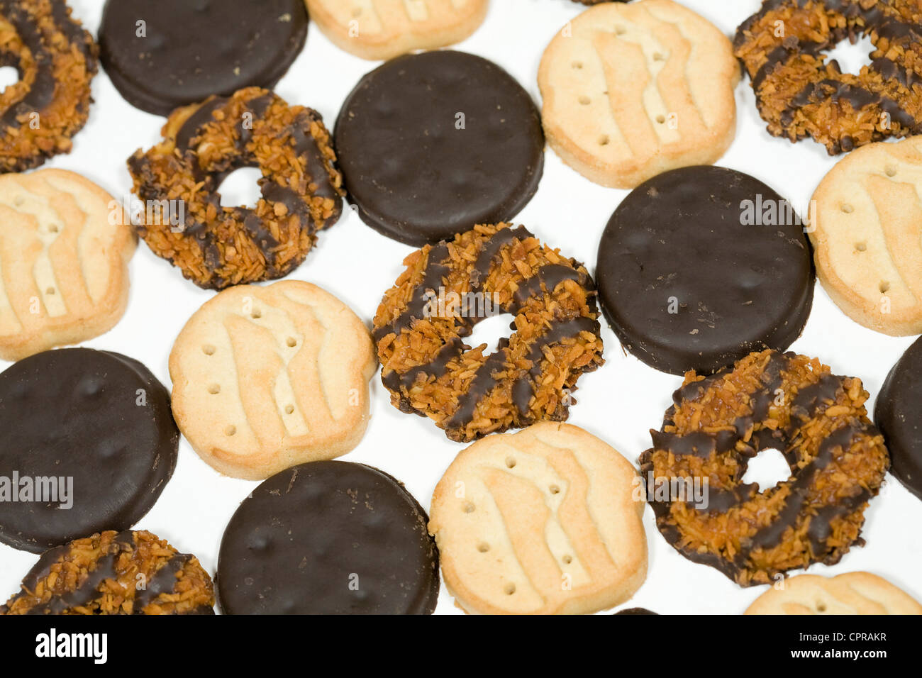 Thin Mints, Trefoils and Samoas Girl Scout cookies.  - Stock Image