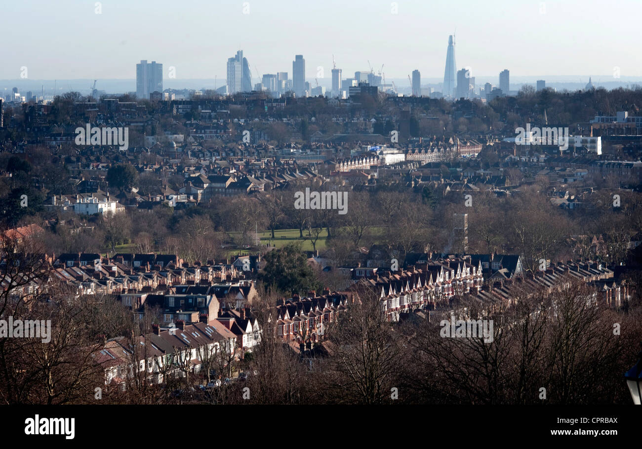 view of London skyline from Alexandra palace - Stock Image