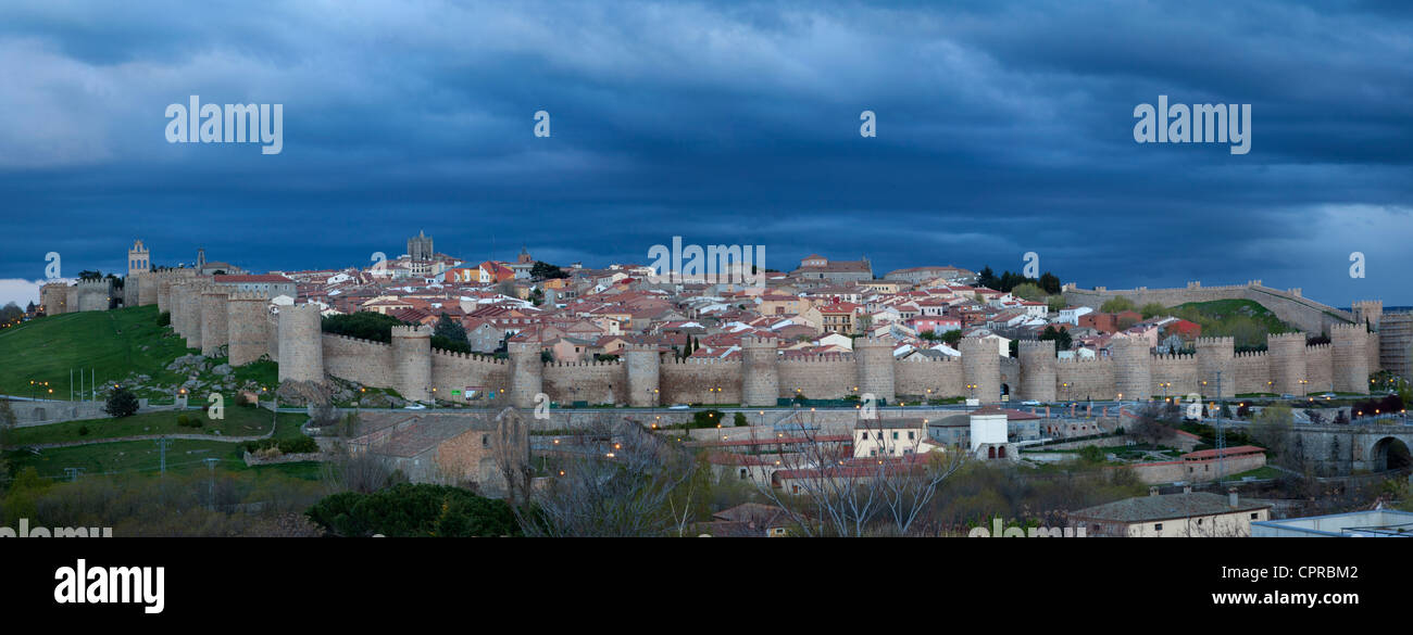 Aerial panoramic view of the city, wall fortress and towers rooks of Avila,Castilla-Leon, Spain - Stock Image