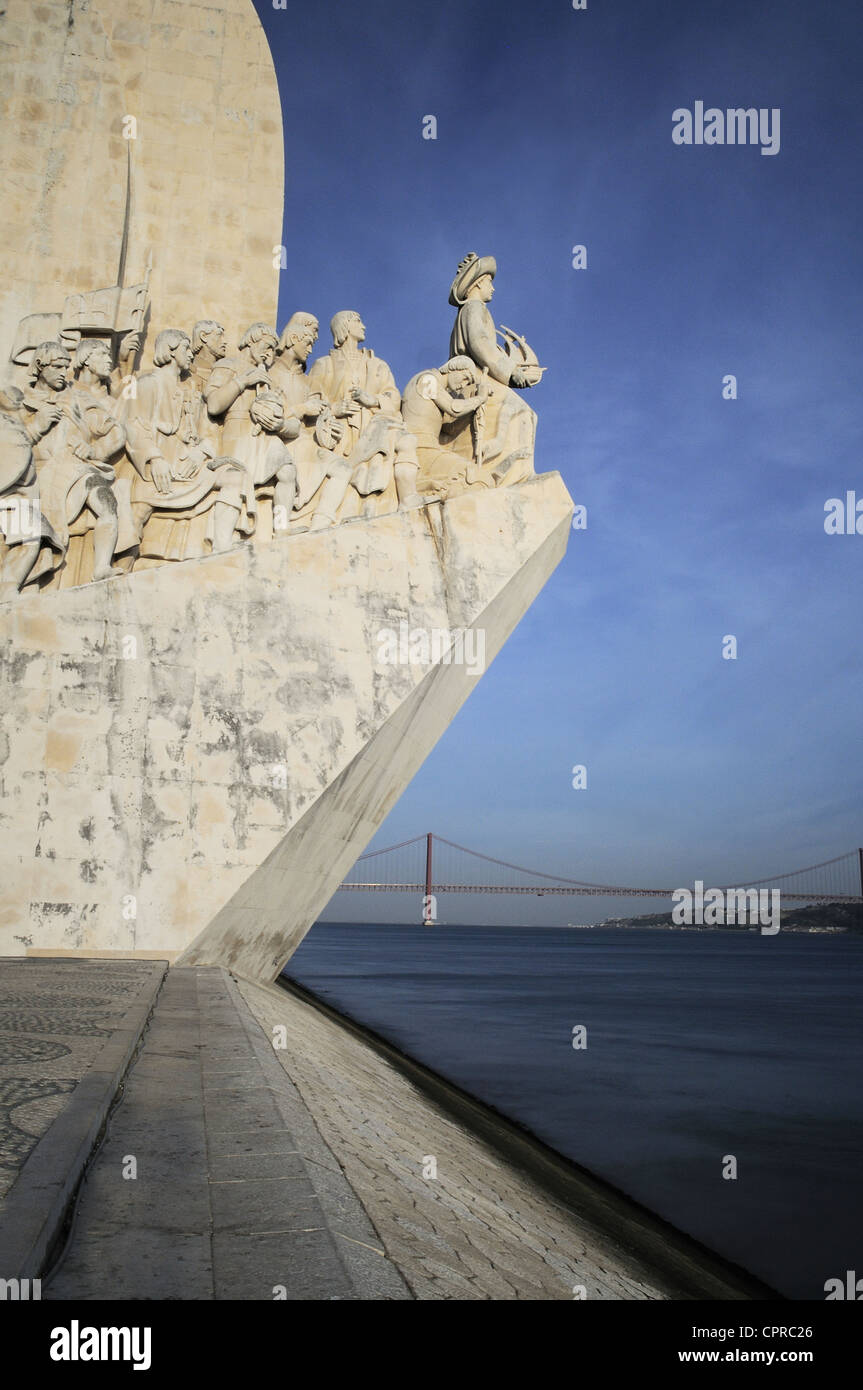 The Padrao dos Descobrimentos (Monument to the Discoveries) celebrates the Portuguese who took part in the Age of - Stock Image