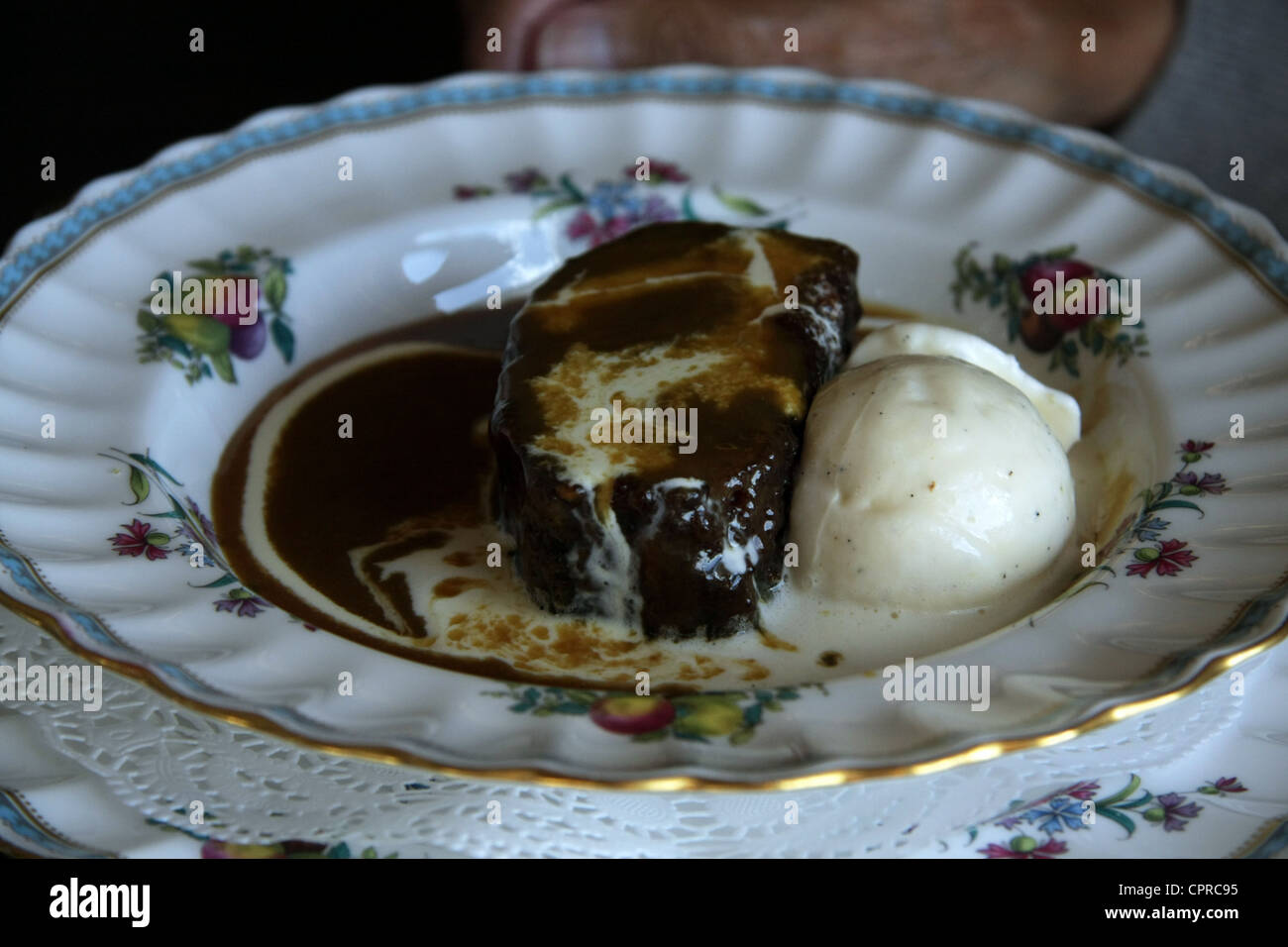 The genuine Sticky Toffee Pudding, the original sweet dish conceived at the Sharrow Bay Hotel, Cumbria - Stock Image