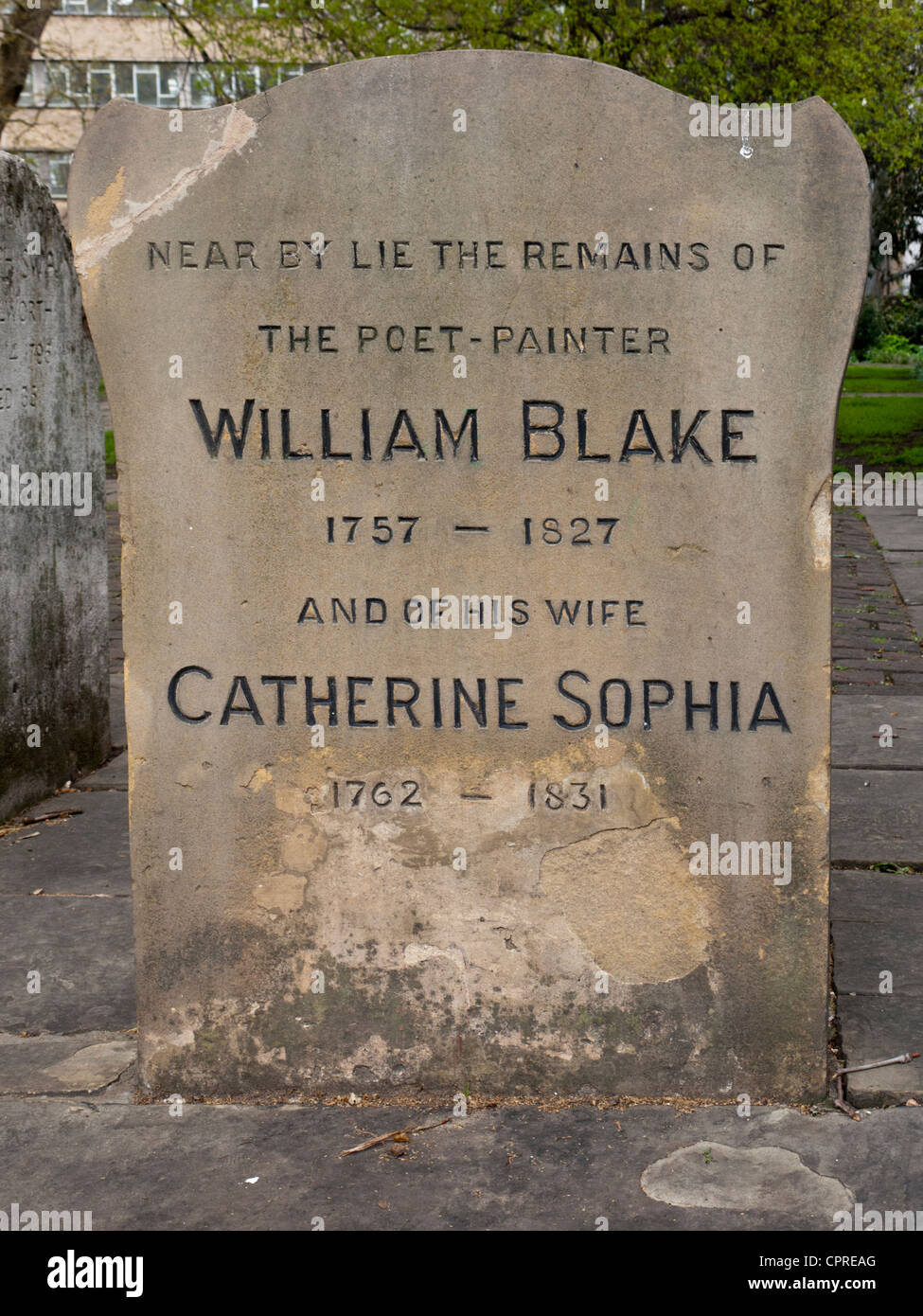 The grave of the English poet, painter and printer William Blake. - Stock Image