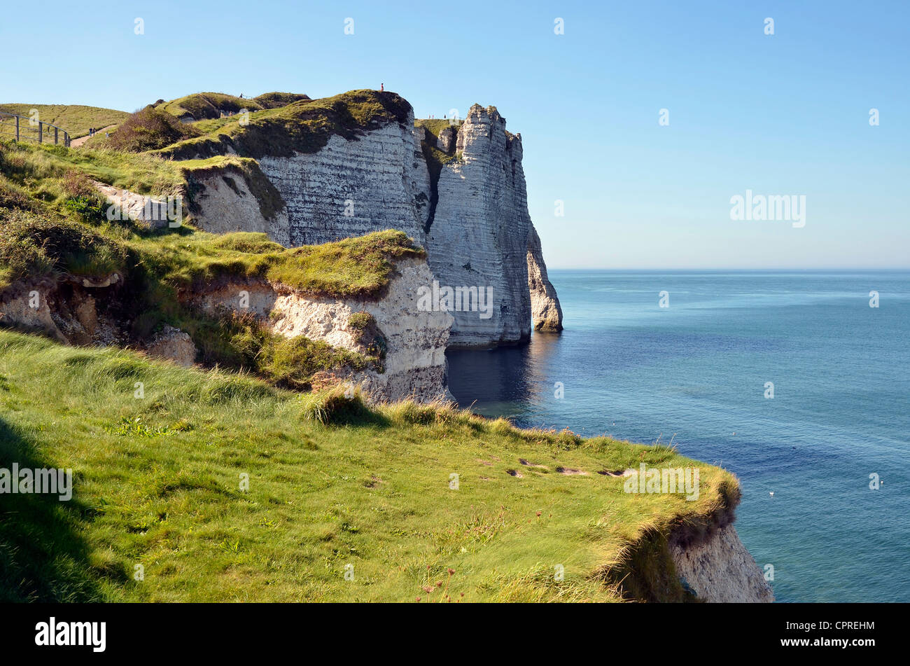 """Famous cliffs """"d'Aval"""" and grassland of Etretat in France - Stock Image"""