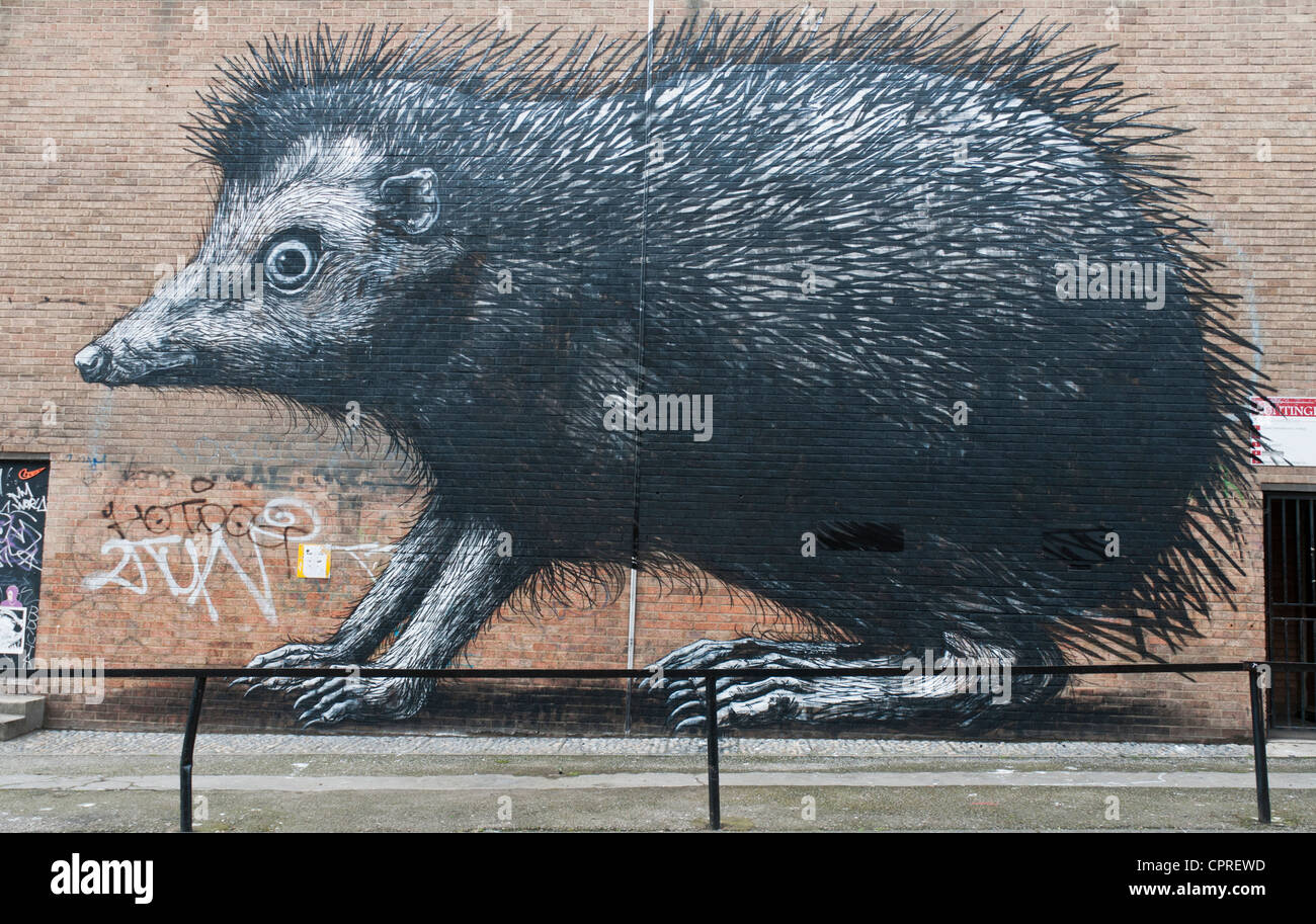 Hedgehog by the street artist Roa in London, England - Stock Image