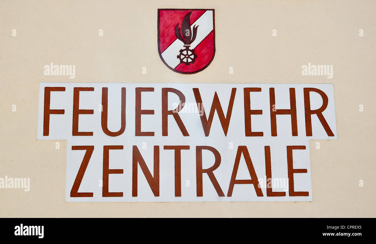 german inscription saying 'feuerwehr zentrale' meaning fire department - Stock Image