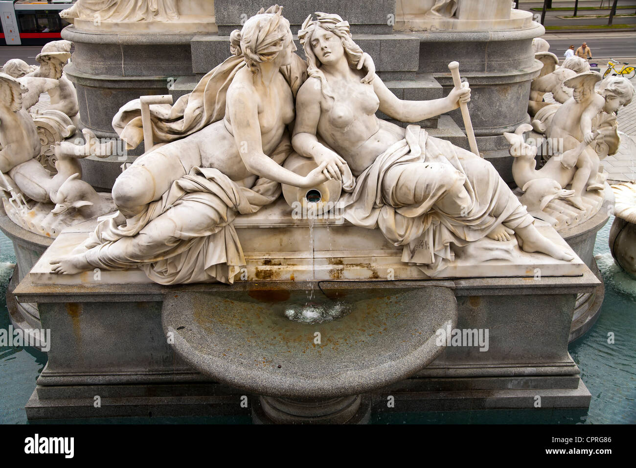 Detail of the Palace Athene Fountain of wisdom at the parliament, Vienna - Stock Image