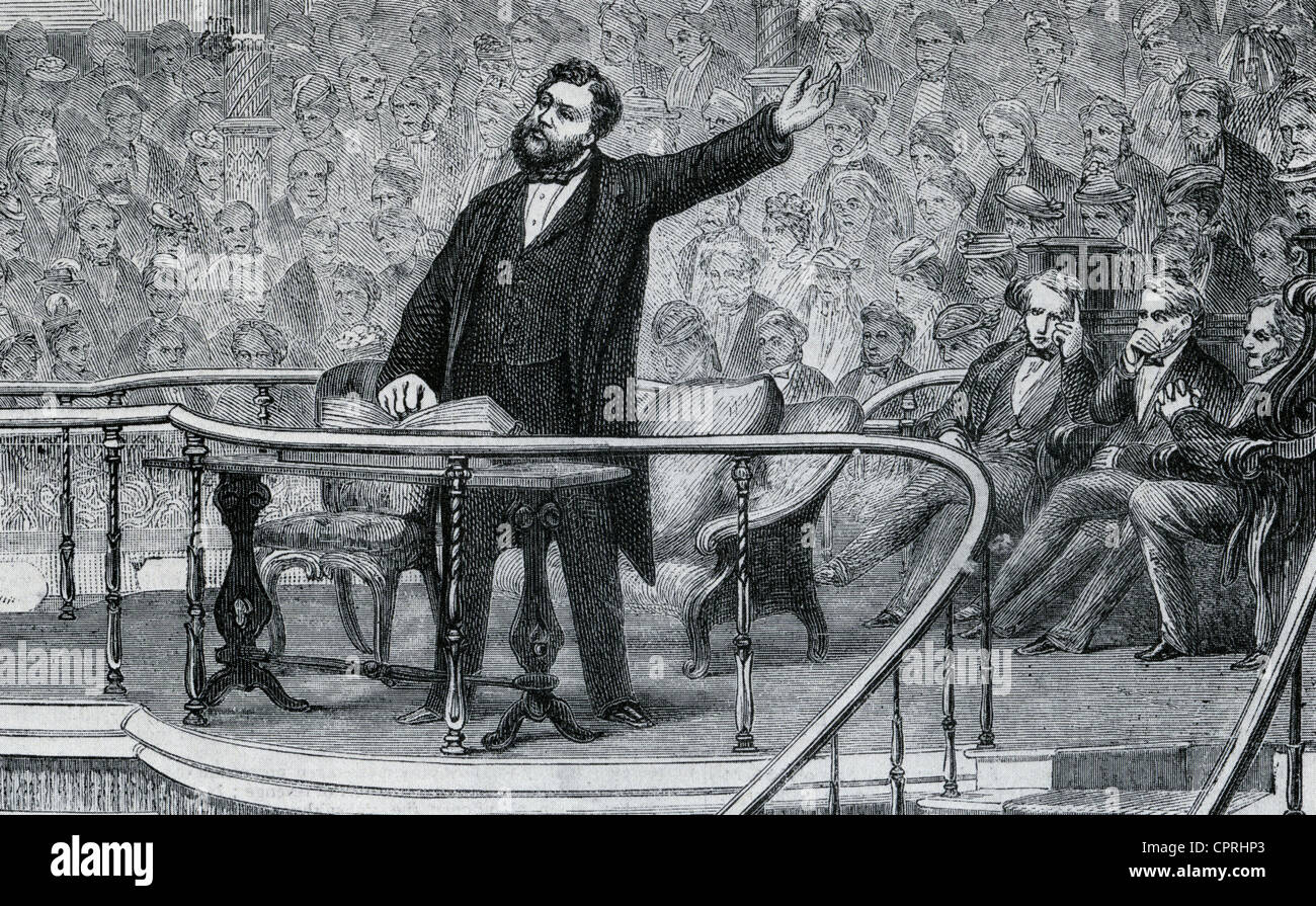 CHARLES SPURGEON (1834-1892) preaching at the South London Baptist Church at the Elephant and Castle, London, about - Stock Image