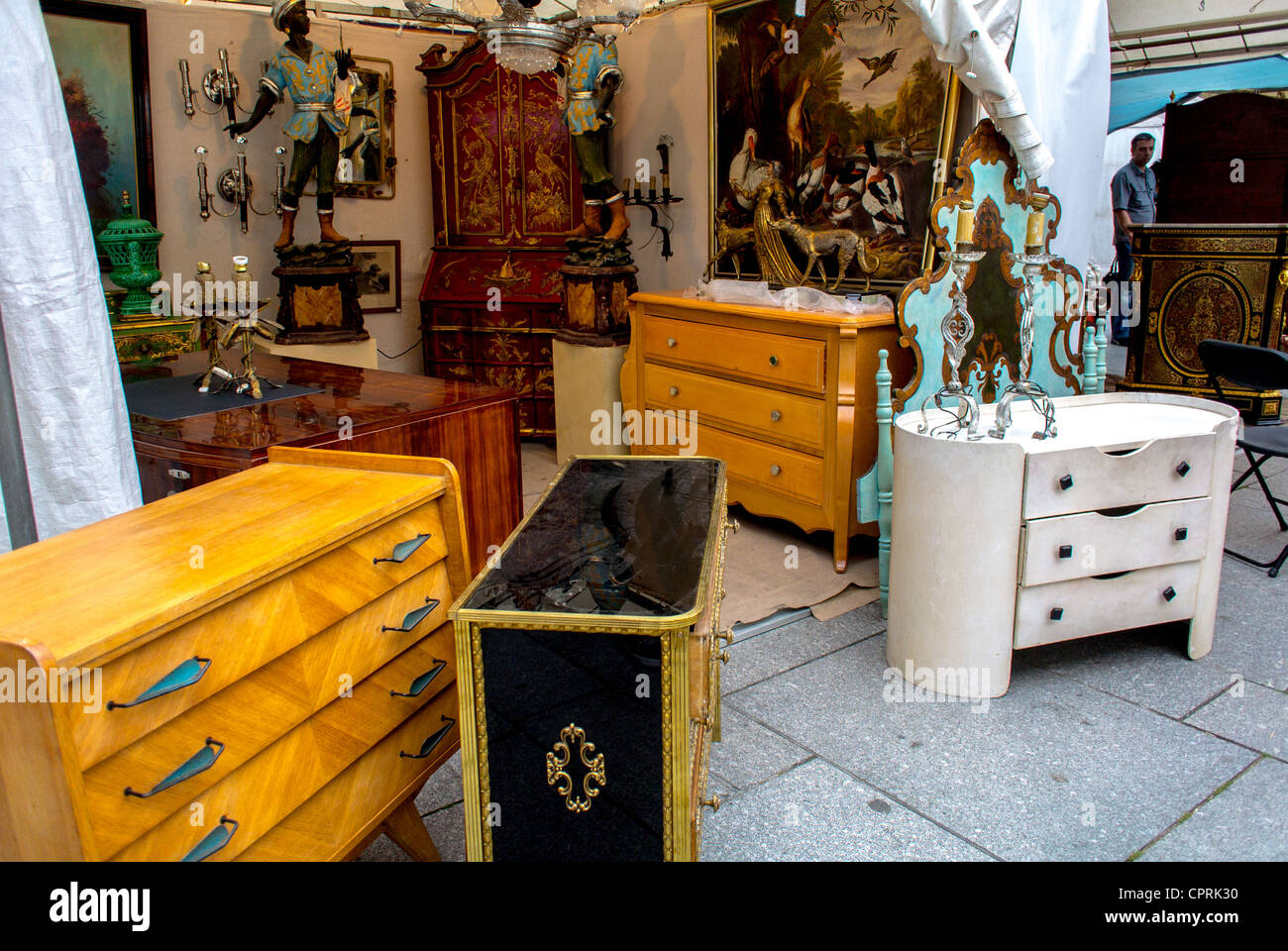 Paris, France, Public Markets, French Antiques, Furniture in Stalls - Stock  Image - French Antiques Furniture Stock Photos & French Antiques Furniture